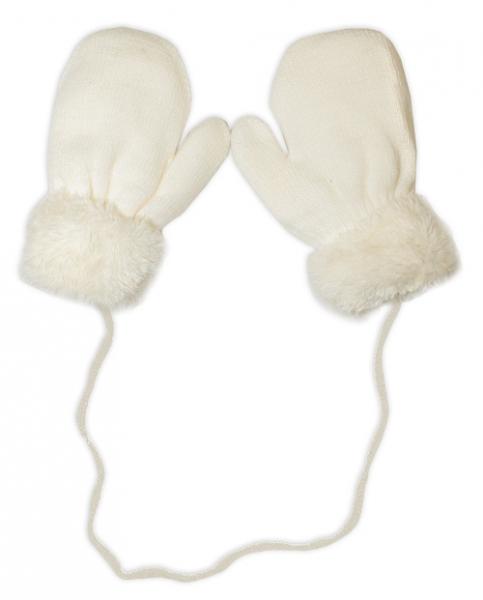YO !  Zimné detské rukavice s kožušinou - šnúrkou YO - smotanová/smotanová kožušina
