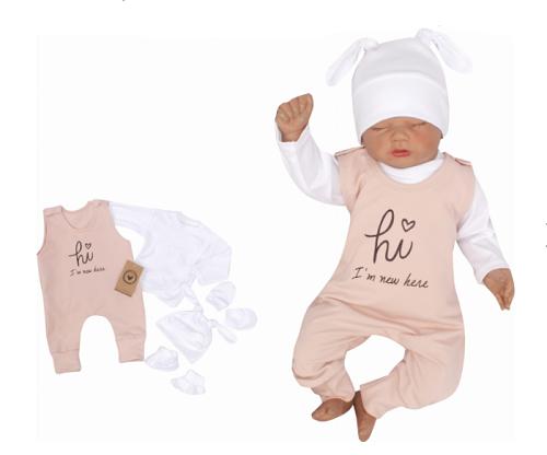 Z & Z 5-dielna kojenecká súpravička Hi I am new here - staroružová, veľ. 62-#Velikost koj. oblečení;62 (2-3m)