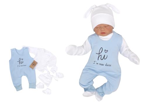 Z & Z 5-dielna kojenecká súpravička Hi I am new here - modra-#Velikost koj. oblečení;50 (0-1m)
