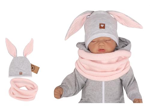 Z & Z Dojčenská bavlnená čiapočka Zajačik s nákrčníkom, šedá/ružová