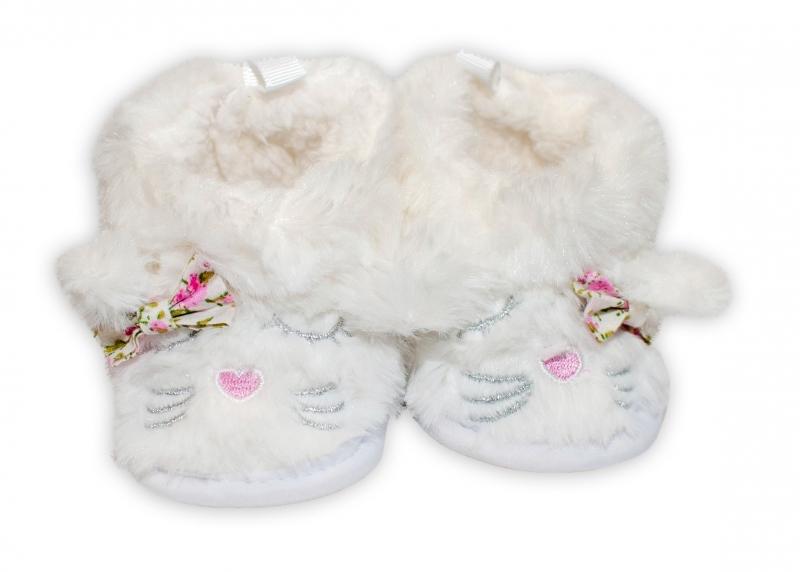 YO! Zimné chlupáčkové topánočky / capačky Macička YO! - biele, 6 - 12m