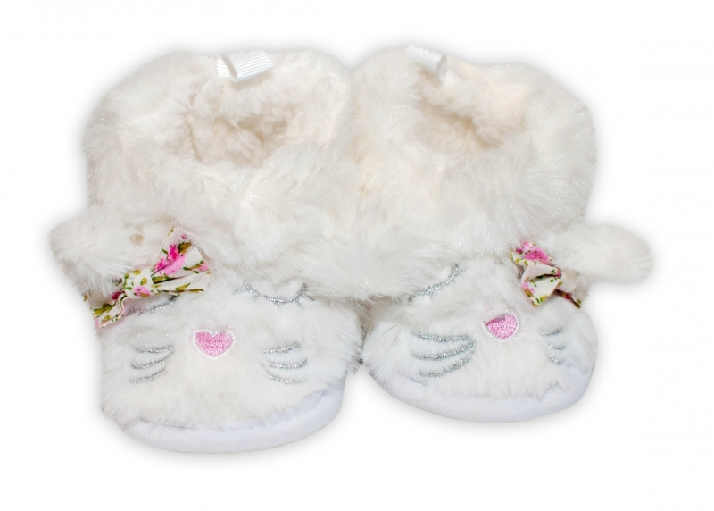 YO! Zimné chlupáčkové topánočky Macička YO! - biele, 6-12m