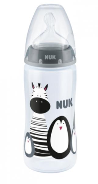 NUK Fľaštička s idndikátorem teploty 300 ml, sivá