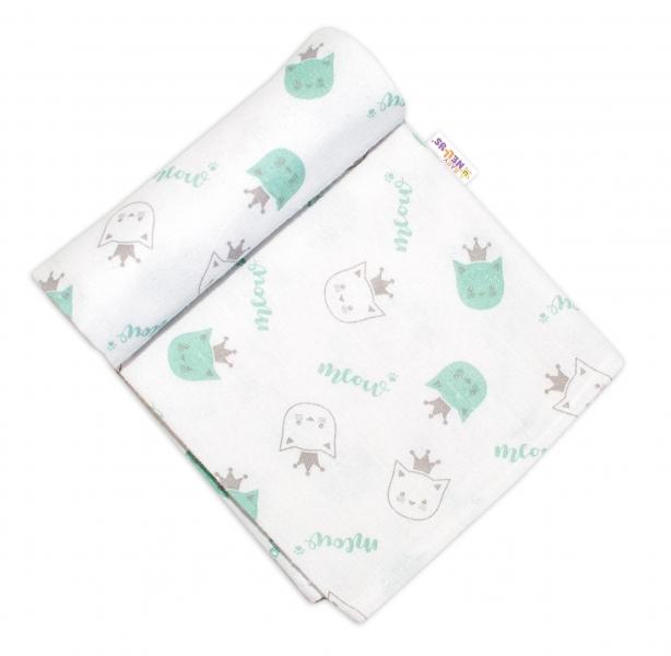 Baby Nellys Flanelová plienka, 70x80 cm - Mačička s korunou, zelená