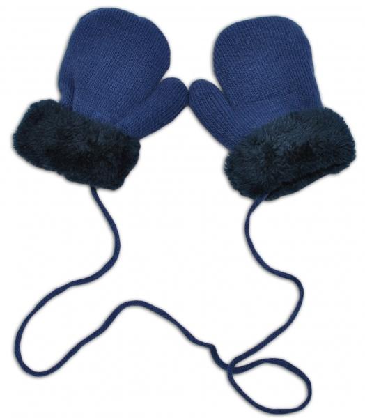 YO !  Zimné detské rukavice s kožušinou - šnúrkou YO - jeans/granátová kožušina