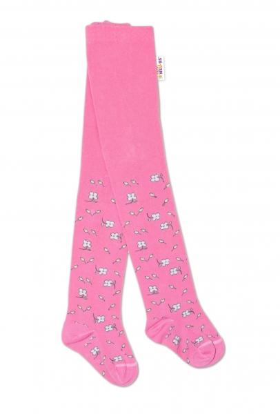 Baby Nellys Detské pančuchy bavlnené Kytičky, ružové, 1ks, veľ. 92/98-#Velikost koj. oblečení;92/98