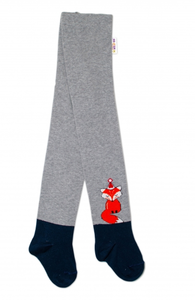 Baby Nellys Detské pančuchy bavlnené Fox, šedé-granát, 1ks, veľ. 92/98-#Velikost koj. oblečení;92/98