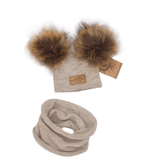 Z&Z Zimná čiapka s brmbolcami z kožušinky + komín, béžová