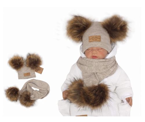 Z & Z Zimná čiapka s brmbolcami z kožušinky s šálou 2V1, béžová, vel. 42/46