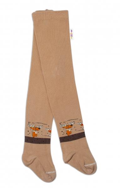 Baby Nellys Detské pančuchy bavlnené Los,  hnedé, béžové, 1ks, veľ. 92/98-#Velikost koj. oblečení;92/98