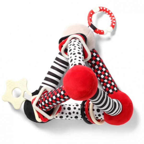 BabyOno Plyšová edukačná hračka Tiny Yoga Triangle C - More Collection - čierna/červená