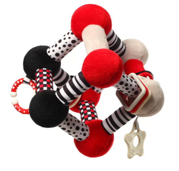 BabyOno Plyšová edukačná hračka Tiny Yoga Cube C - More Collection - čierna / červená