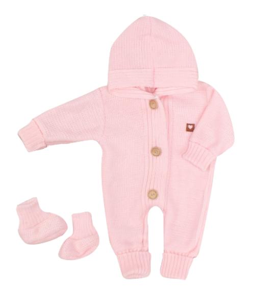 Detský pletený overal s kapucňou + topánočky, ružový, veľ 56
