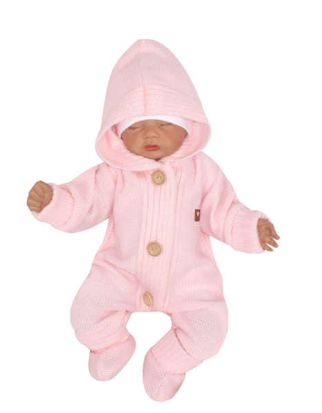 Detský pletený overal s kapucňou + topánočky, ružový, vel. 74