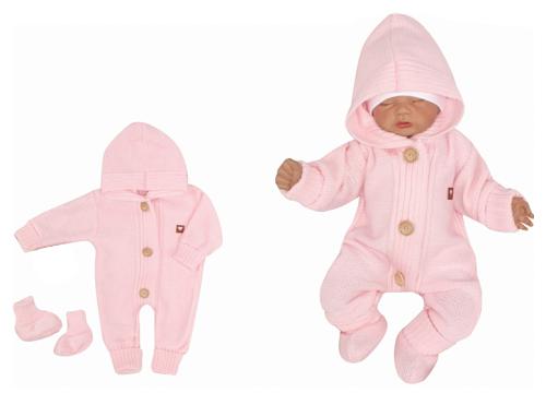 Detský pletený overal s kapucňou + topánočky, ružový, vel. 80