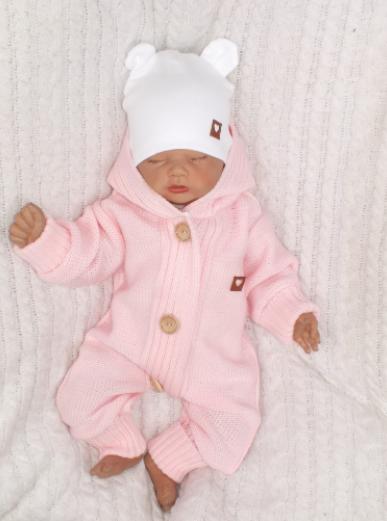 Detský pletený overal s kapucňou, ružový, vel. 86