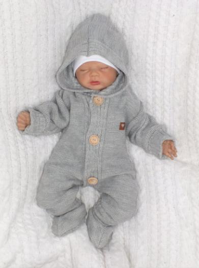 Detský pletený overal s kapucňou + topánočky, sivý, veľ. 62