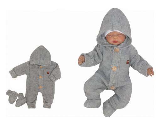Detský pletený overal s kapucňou + topánočky, sivý, veľ. 68