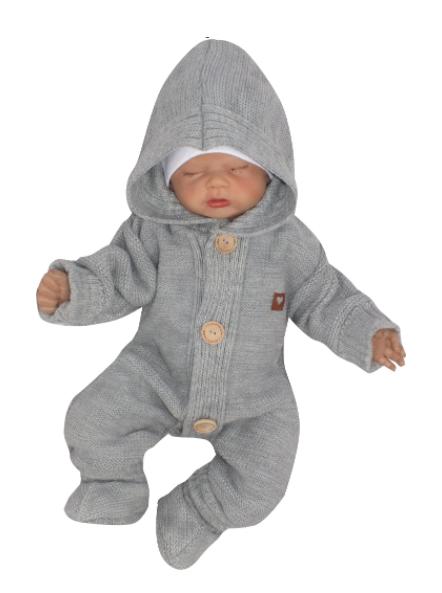 Detský pletený overal s kapucňou + topánočky, sivý, veľ. 74