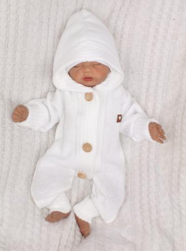 Detský pletený overal s kapucňou + topánočky, biely, veľ 56