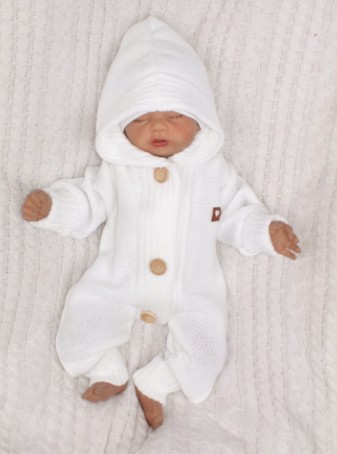 Detský pletený overal s kapucňou + topánočky, biely, veľ. 80