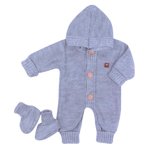 Detský pletený overal s kapucňou + topánočky, modrý, veľ. 74