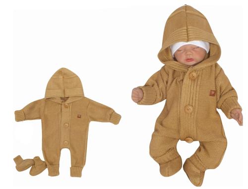 Detský pletený overal s kapucňou + topánočky, medový, veľ 56
