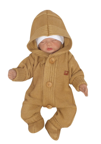 Detský pletený overal s kapucňou + topánočky, medový, vel. 62