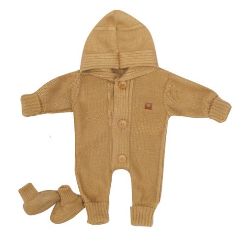 Detský pletený overal s kapucňou + topánočky, medový, vel. 68