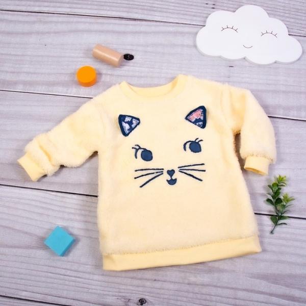 K-Baby Chlupáčková mikina Mačička s uškami - žltá, veľ. 74