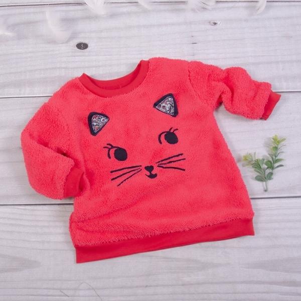 K-Baby Chlupáčková mikina Mačička s uškami - malinová, veľ. 98