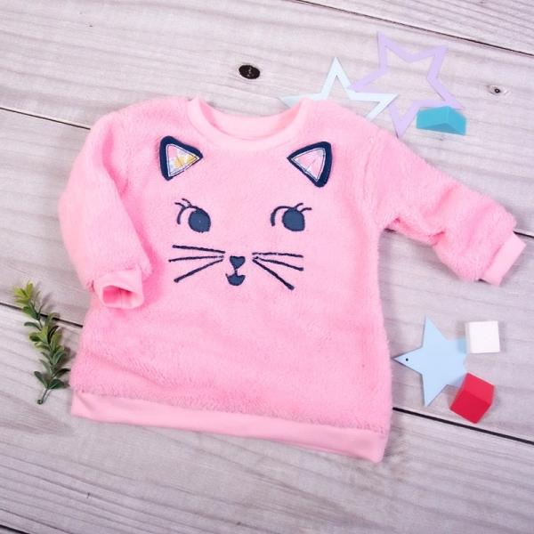 K-Baby Chlupáčková mikina Mačička s uškami - svetlo ružová, veľ. 86