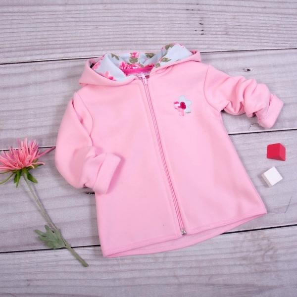 K-Baby Detská mikina Kytička s kapucňou - svetlo ružová, veľ. 86