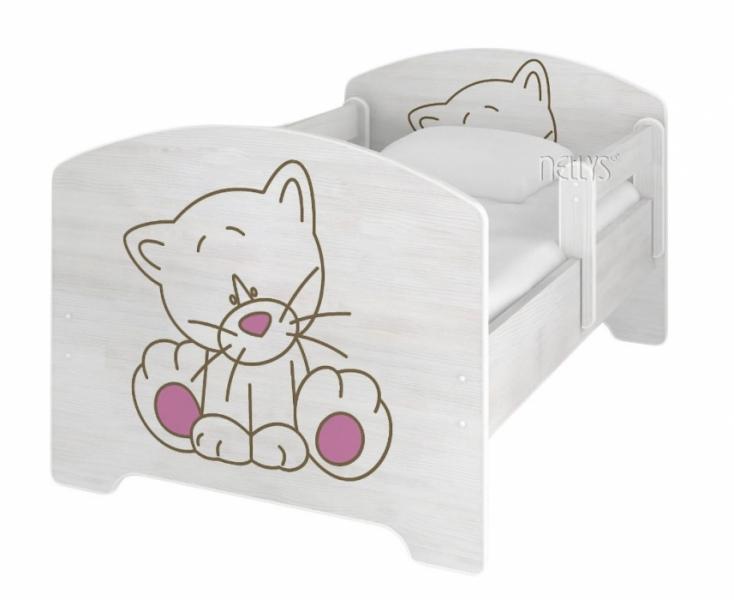 NELLYS Detská posteľ 160x80cm + ŠUPLÍK  Macička ruzova vo farbe nórskej borovice + matrac.-#Rozměry;160x80