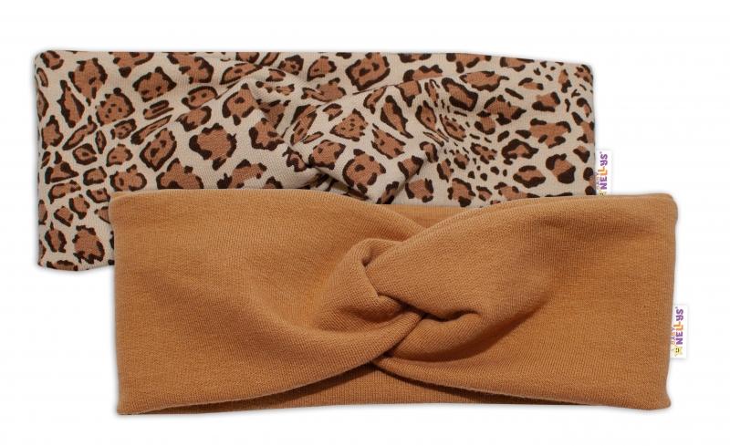BABY NELLYS Detské čelenky Gepard, sada 2 kusov - hnedá, gepard, 1-2 roky