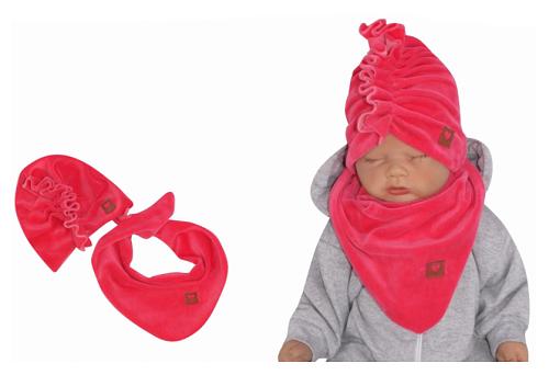 Z&Z Štýlová detská jarná / jesenná velurová čiapka, turban s šatkou, amarant, 44/48cm-#Velikost koj. oblečení;44/48 čepičky obvod