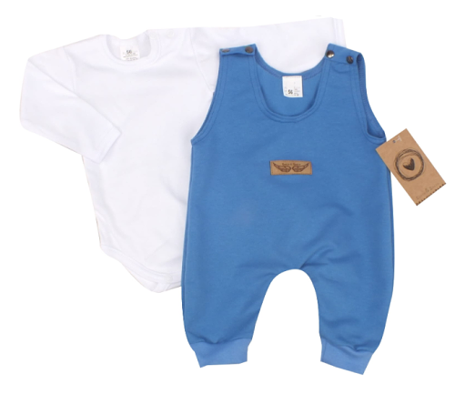 Kojenecká 2-dielna súprava body + laclové nohavice - modrá, veľ. 62
