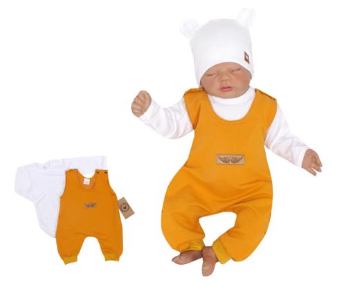 Z & Z 2-dielna súpravička body + laclové nohavice - horčicová-#Velikost koj. oblečení;56 (1-2m)