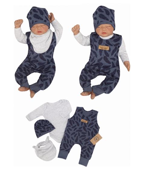 Z & Z 4-dielna súpravička body, laclové nohavice, čiapočka + šatka - modrá, veľ. 86-#Velikost koj. oblečení;86 (12-18m)