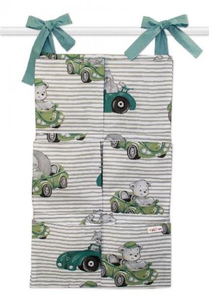 Bavlnený vreckár na postielku Baby Car, zelená