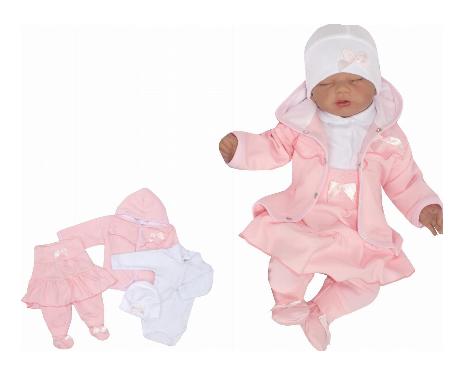 Z & Z 4-dielna súpravička body, polodupačky, čiapočka a kabátik Mašlička - ružová-#Velikost koj. oblečení;56 (1-2m)