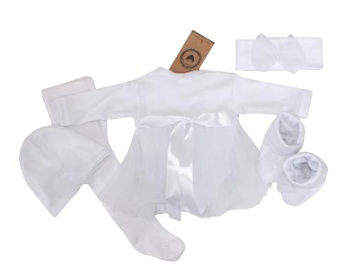Kojenecká 5-dielna súpravička sukničkobody, pančuchy, čiapka,čelenka, topánky - biela, veł. 62