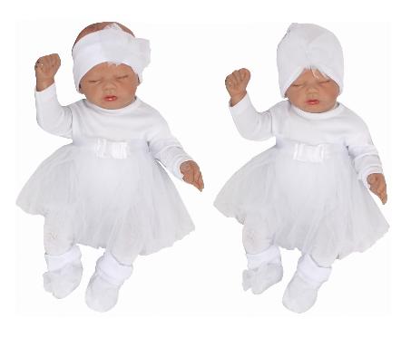 Kojenecká 5-dielna súprava sukničkobody, pančuchy, čiapka,čelenka, topánki - biela pre dievčatko veł. 74