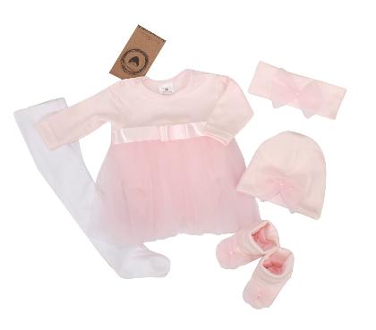 Kojenecká 5-dielna súprava sukničkobody, panč., čiapka, čelenka, topánky - ružová pre dievčatko, Veľ. 62