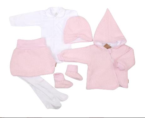 Kojenecká 6-dielna súprava, kabátik, body, sukňa, pančuchy, topánky, čiapka - ružová, biela, veľ. 62