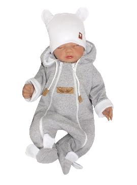 Dojčenský overal dvojvrstvový, bavlnený - šedo/biela, veľ. 62