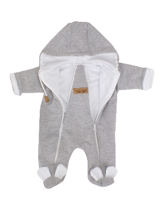 Dojčenský overal dvojvrstvový, bavlnený - šedo/biela, veľ. 74