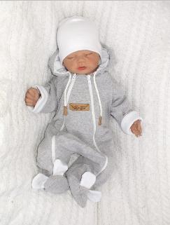Dojčenský overal dvojvrstvový, bavlnený - šedo/biela, veľ. 86