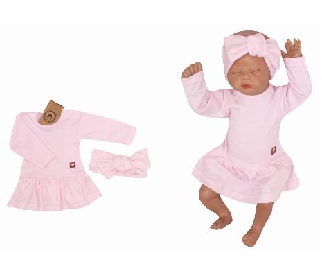 Z & Z 2-dielna sada sukničkobody + čelenka - ružová, veľ. 80-#Velikost koj. oblečení;80 (9-12m)