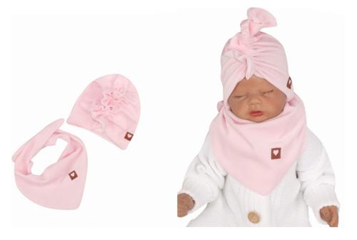 Z&Z Štýlová detská jarná / jesenná velurová čiapka, turban s šatkou, sv. ružová, 48/52cm
